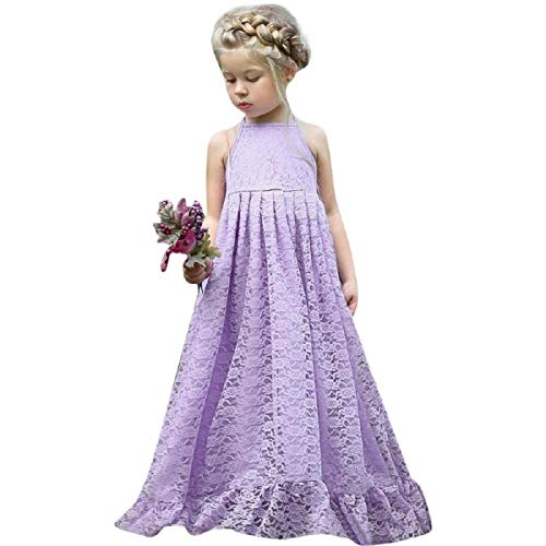 OTINICE Princess Girls Sleeveless Dress Lace Flower Backless Strap Party ()