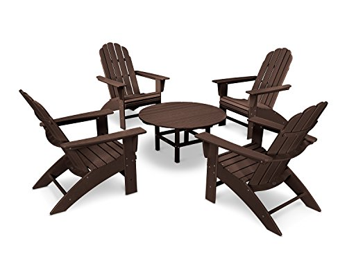 POLYWOOD Vineyard 5-Piece Outdoor Oversized Adirondack Chair and Table Set ()