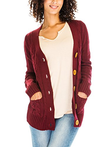 Luna Flower Women's Cable Knit V-Neck Big Button Front Pockets Ribbed Sleeve Sweater Cardigans BURGUNDY S