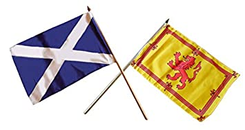 Scotland Small Hand Flags Mixed Pair Of St Andrew S Cross