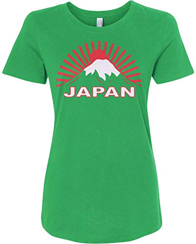 Japan Graphic Tee | Japanese Traditional Flag Women's Fitted T-Shirt | Medium, Kelly Green ()