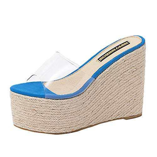 - JUSTWIN Lady Leisure Platform Plaid Sandals Wedge Clear Slippers Hemp RopeTransparent Slippers Blue