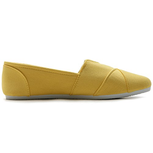 Scarpa Da Donna Ollio Slip On Sneaker Canvas Flat Yellow