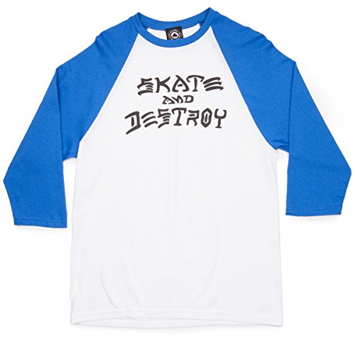 Skate and Destroy Raglan, size:XL;producer_color:white-blue