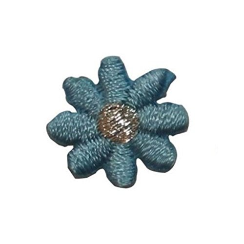 - ID 6629 Lot of 3 Blue Daisy Flower Patch Blossom Embroidered Iron On Applique