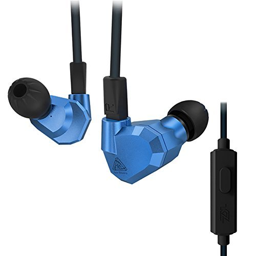 Quad Driver Headphones,ERJIGO KZ ZS5 High Fidelity Extra Bass Earbuds with Microphone and remote,with Detachable Cable,Blue