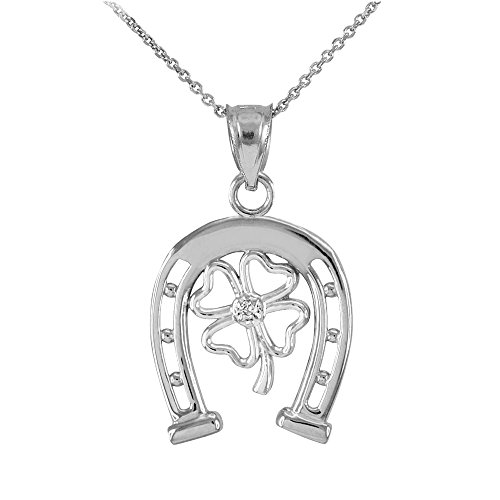 10k White Gold Lucky Horseshoe with Irish 4-Leaf Clover Diamond Pendant Necklace, 22