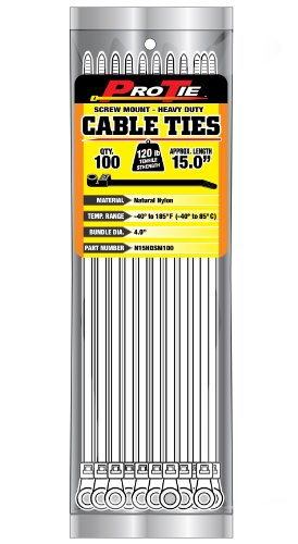 Pro Tie N15HDSM100 15-Inch Screw Mount Heavy Duty Cable Tie, Natural Nylon, 100-Pack by Pro Tie