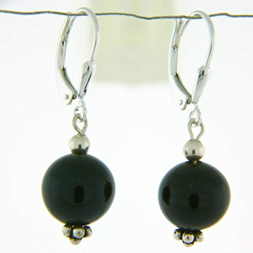 Sterling Silver 10mm Gemstone Bead Lever Back Bottom Dot Flower Earrings, Black Onyx - Malachite Onyx Earrings