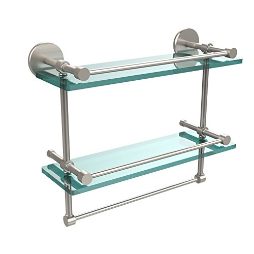 Allied Brass P1000-2TB/16-GAL-SN 16-Inch Gallery Double Glass Shelf with Towel Bar, Satin Nickel