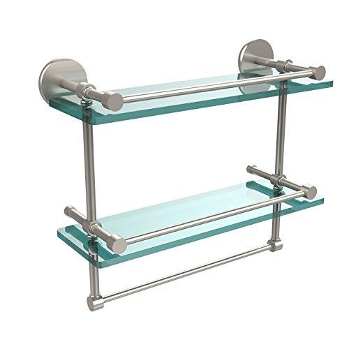 Allied Brass P1000-2TB/16-GAL-SN 16-Inch Gallery Double Glass Shelf with Towel Bar, Satin Nickel