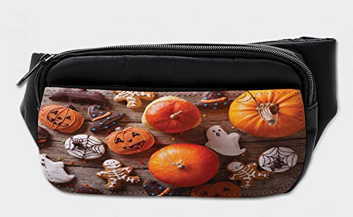 Lunarable Halloween Bumbag, Ginger Biscuits Pumpkins, Fanny Pack Hip Waist Bag -
