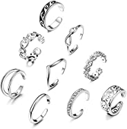 YADOCA 9 Pcs Adjustable Open Toe Rings Knuckle Ring Set for Women Vintage Foot Jewelry Various Types Silver To