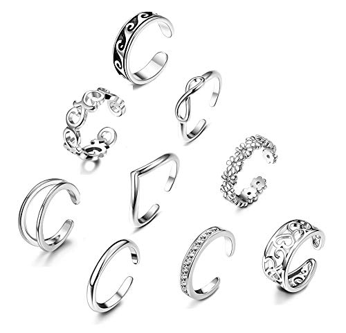 Ring Tone Toe Silver Silver (YADOCA 9 Pcs Adjustable Open Toe Rings Knuckle Ring Set for Women Girls Vintage Foot Jewelry Various Types Silver Tone)