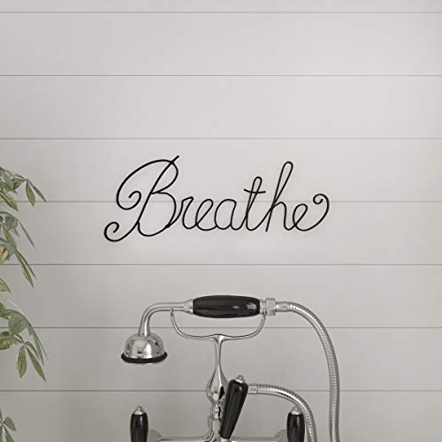 Words Wall Art - Lavish Home Metal Cutout Breathe Wall Sign-3D Word Art Accent Decor-Perfect for Modern Rustic or Vintage Farmhouse Style