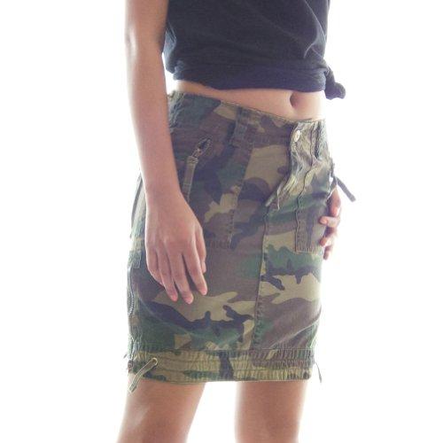 Camo Cargo Skirt (Womens Safari Sidewinder Cargo Skirt 52001 - Ladies 100% Cotton Zipped Trim & Pockets, Large/17 EURO Woodland Camo)