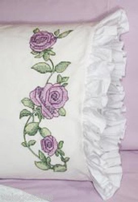 - Fairway Stamped Lace Edge Pillowcase, 30 By 20-inch, Rose Vine, 2-pack