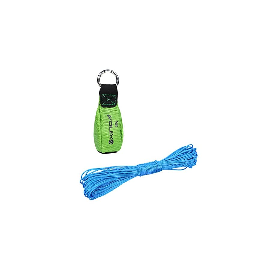 MonkeyJack 250g/8.8oz Green Throw Weight Bag + Strong Durable 15m 2mm Blue Throw Line Set Arborist Tree Climbing Rigging Accessories