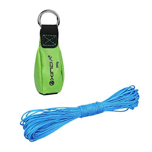 MonkeyJack 250g/8.8oz Green Throw Weight Bag + Strong Durable 15m 2mm Blue Throw Line Set Arborist Tree Climbing Rigging Accessories