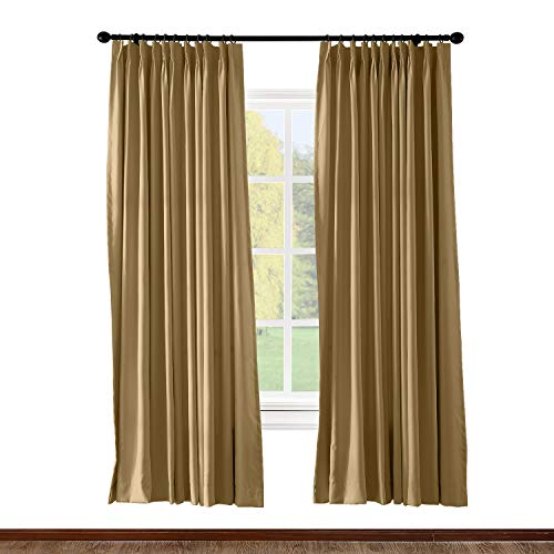 Pleated Drapery - ChadMade Pinch Pleated Curtain 100W x 84L Inch Solid Thermal Insulated Blackout Patio Door Panel Drape for Traverse Rod and Track, Wheat (1 Panel)