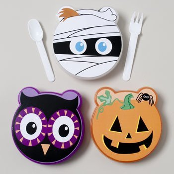 Halloween Set of Three Lunch Box Container Sets With Cutlery: Pumpkin, Mummy, Owl Face, Safe for Children