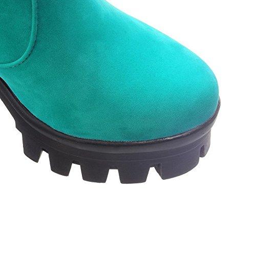 AllhqFashion Mujeres Plataforma Caña Baja Sólido Sin cordones Tacón Alto Botas Azul