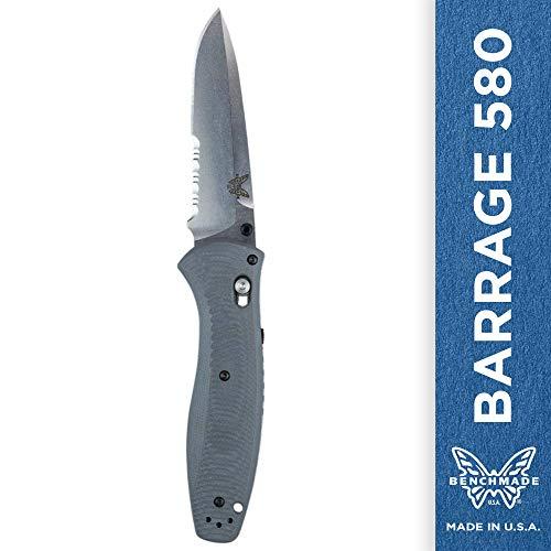 - Benchmade Knife 580S-2 G10 Barrage ComboEdge Satin Finish Blade