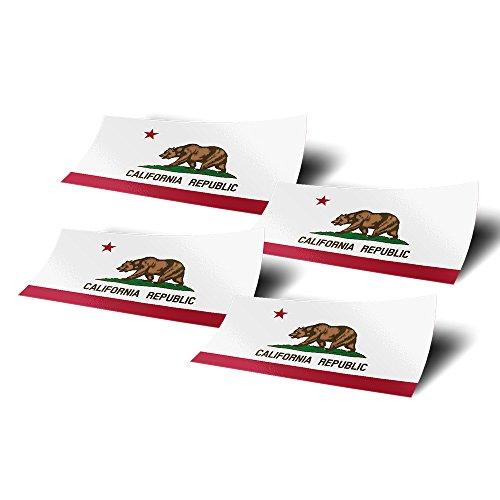 Desert Cactus California CA 4 Pack of 4 Inch Wide State Flag Stickers Decal for Window Laptop Computer Vinyl Car Bumper Scrapbook Californian 4
