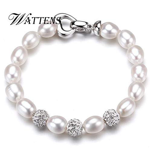 (Gabcus Charm Bracelet Pearl Jewelry Bracelets Natural Freshwater Pearl Bracelet,925 Sterling Silver Bracelet for Women Wedding - (Main Stone Color:, Length: About 17cm))