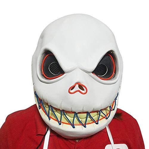 Herocos Horror Jack Cosplay Glowing Latex Mask, Skellington Costume Mask Halloween Costume Props (Jack) -