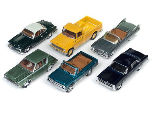 New 1:64 AUTO WORLD JOHNNY LIGHTNING CLASSIC GOLD COLLECTION - Classic Gold 2017 Release 3 Version B Diecast Model Car By Auto World Set of 6 Cars