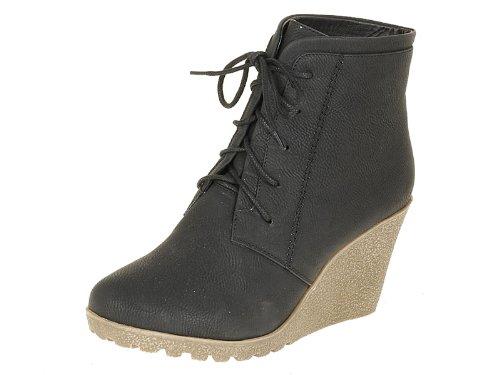 Reneeze CHERRY-2 Women High Heel Wedge Ankle Boots-BLACK-10