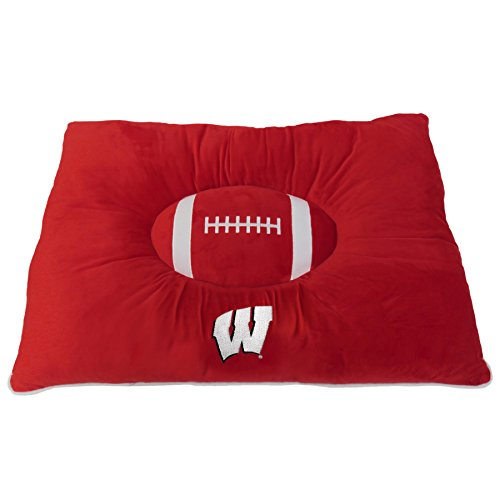NCAA PET Bed - Wisconsin Badgers Soft & Cozy Plush Pillow Bed. - Football Dog Bed. Cuddle, Warm Collegiate Mattress Bed for Cats & Dogs (Bed Ncaa Pet)