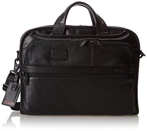 Tumi Alpha 2 Organizer Portfolio Leather Brief, Black, One Size