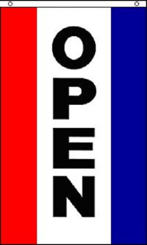 Open Vertical Flag - Home and Holiday Flags Open Vertical Flag Business Store Advertising Banner Pennant Restaurant Sign 3x5