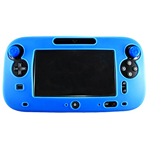 Pandaren Soft Silicone Skin for Nintendo Wii U Tablet Set(Skin X 1 + Thumb Grip X 2)(blue) (Wii U Controller Gamepad Cover compare prices)