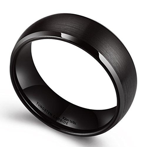 King Will TIRE Anillo de tungsteno con cúpula negro 8 mm cepillado, acabado mate Tamaño del anillo de matrimonio (11.5)