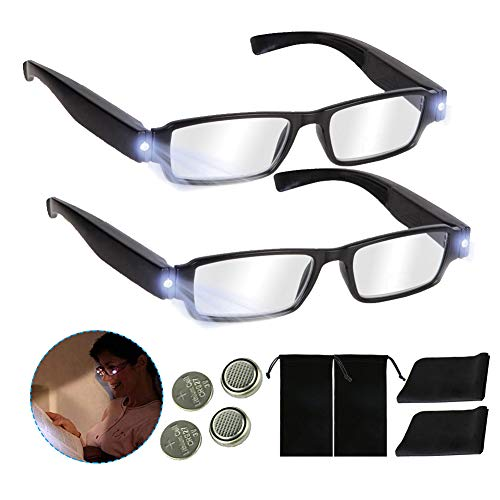 Bright LED Readers with Lights Reading Glasses Lighted Magnifier Nighttime Reader Compact Full Frame Eyewear Clear Vision Unisex Clear Vision Lighted Eye Glasses (Black, 100)