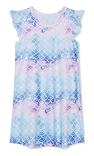 uideazone Mermaid Nightgown for Girls,3D Graphic Flutter Sleeve Nightdress Pajamas Sleepwear Homewear