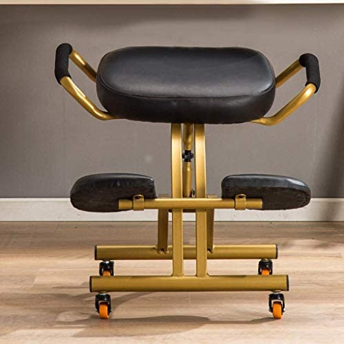 YLJYJ Chaises à Genoux Chaise de Bureau Ergonomique réglable en Hauteur Chaise de Bureau en Cuir PU Tabouret orthopédique avec Dossier et poignée
