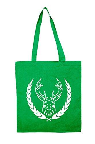 """Jutebeutel """"Elk"""" Baumwolltasche Green"""