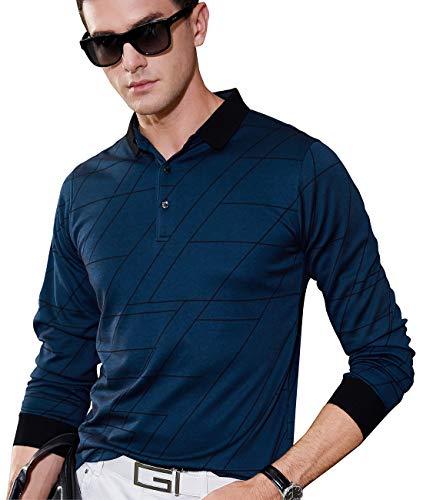 (XTAPAN Men's Casual Long Sleeve Regular Fit Polo Pullover T Shirt 50=L 8835 Lake)