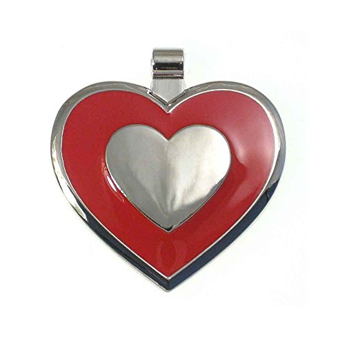 LuckyPet Pet ID Tag - Heart Shaped Jewelry Tag - Dog Tag & Cat Tag - Easy to Read Laser Engraving on the Back Side - Size: Large, Color: Red ()