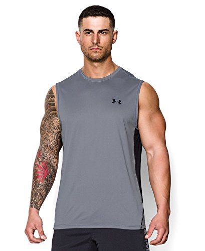 Under Armour Men's UA Tech Sleeveless T-Shirt Small Steel