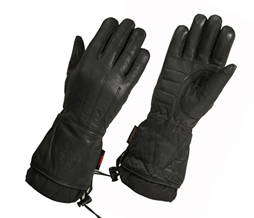 Women's Motorcycle Water Resistant Lined Gauntlet Glove (Large, Black)