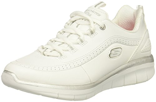 Skechers Sport Women's Synergy 2.0 Fashion Sneaker, White/Silver, 7 M US (Leather White Sport Footwear)