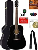 Fender CD-60S Solid Top Dreadnought Acoustic Guitar - Black Bundle with Hard Case, Tuner, Strap, Strings, Picks, Austin Bazaar Instructional DVD, and Polishing Cloth