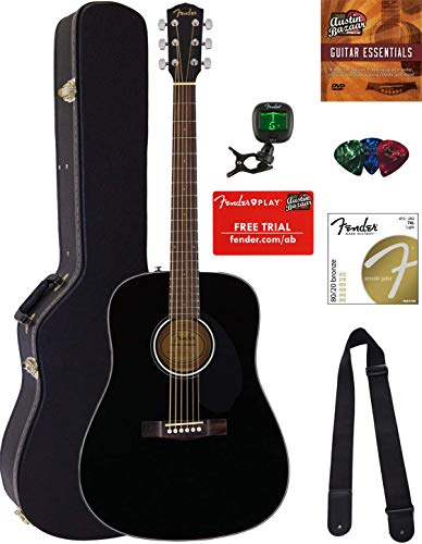 Fender CD-60S Solid Top Dreadnought Acoustic Guitar - Black Bundle with Hard Case, Tuner, Strap, Strings, Picks, Austin Bazaar Instructional DVD, and Polishing Cloth (Gibson Acoustic Guitar Case)