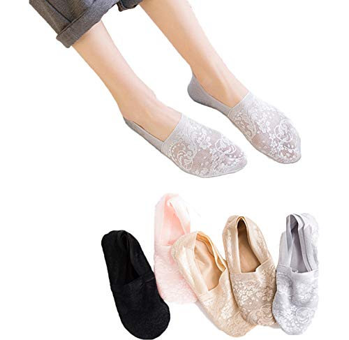 (Women's No Show Socks, 5 Pack Bamboo Fiber Non Slip Flat Boat Invisible Low Cut Liners Sports Ankle Socks (Mix Colors))