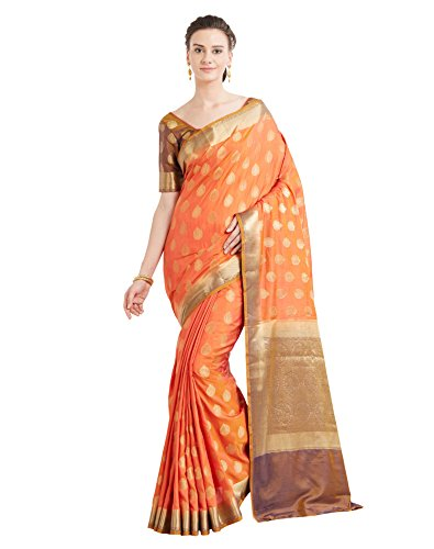Viva N Diva Sarees for Women's Banarasi Orange Colour Banarasi Art Silk Saree with Un-Stiched Blouse Piece,Free Size